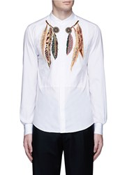 Valentino Feather Embroidered Poplin Shirt White