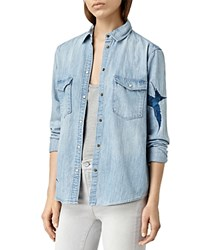 Allsaints Embroidered Denim Shirt Indigo Blue