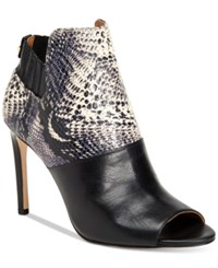 Calvin Klein Women's Sarine Peep Toe Ankle Booties Women's Shoes Black White Snake