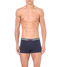 Dsquared Logo Print Stretch Cotton Trunks Blue