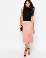 Daisy Street Wrap Front Skirt In Suedette Rose Pink