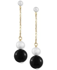 Effy Collection Eclipse By Effy Cultured Freshwater Pearl 6Mm And Onyx 10Mm Linear Earrings In 14K Gold