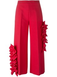 Msgm Ruffle Detail Trousers Pink And Purple