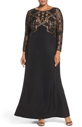 Tadashi Shoji Plus Size Women's Sequin Embroidered Crepe Gown With Train