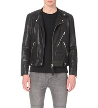 Allsaints Casper Leather Biker Jacket Black