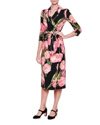 Dolce And Gabbana Tulip Print Pajama Wrap Dress Rose Black Tulipani Rosa F.N