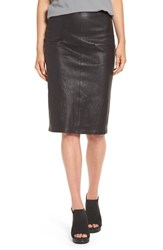 Eileen Fisher Women's Modern Stretch Leather Pencil Skirt Black