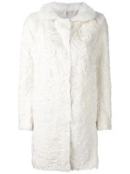 Salvatore Santoro Single Breasted Fur Coat White
