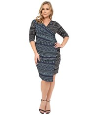 Kiyonna Chic Cinch Faux Wrap Dress Black White Navy Mint Women's Dress Blue