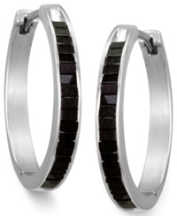 Macy's Sterling Silver Earrings Black Diamond Baguette Hoop Earrings 1 Ct. T.W.