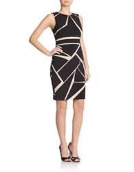 Xscape Evenings Contrast Mesh Panel Sheath Dress Black Nude