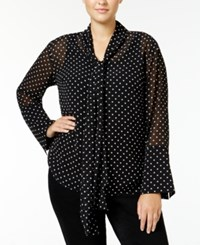 Rachel Roy Curvy Trendy Plus Size Tie Neck Blouse Only At Macy's Black Ivory