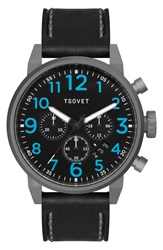 Tsovet 'Jpt Ts44' Chronograph Leather Strap Watch 44Mm Gunmetal Black