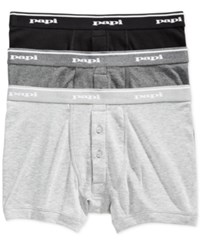 Papi Men's Briefs 3 Pk. Grey Charcoal Black