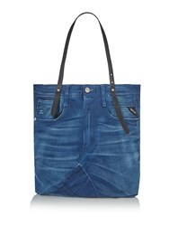 Replay Recycled Denim Shoulder Bag Blue
