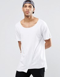 Asos Oversized T Shirt With Scoop Neck And Stepped Hem In White White
