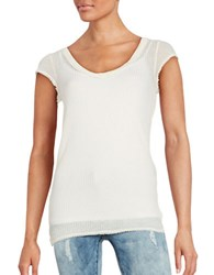 Free People Sheer Waffle Knit Top Ivory