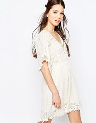 Hazel Lace Panel A Line Dress Natural Pink