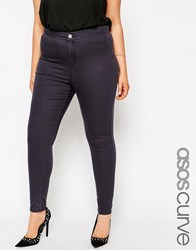 Asos Curve Rivington High Waisted Jeggings In Ink Gray Wash Gray