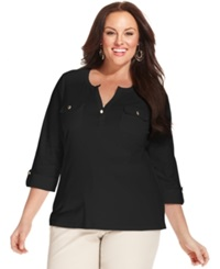 Charter Club Plus Size Three Quarter Sleeve Henley Top Deep Black