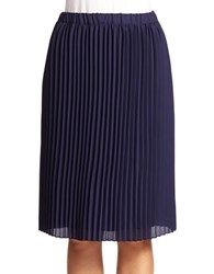 Lord And Taylor Pleated Crepe Skirt Evening Blue