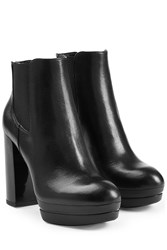Hogan Leather Platform Ankle Boots Black
