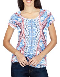 Lucky Brand Cotton Blend Short Sleeve Top Bright White