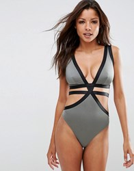 Asos Fuller Bust Exclusive Elastic Strappy Plunge Swimsuit Dd G Grey Black