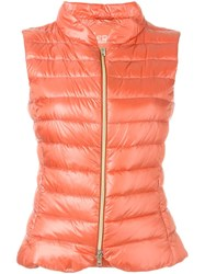 Herno Padded Zip Gilet Yellow And Orange