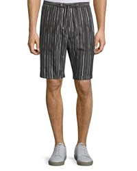 Cnc Costume National Drawstring Waist Striped Shorts Black White