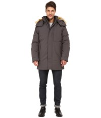 Marc New York Niagra Down Filled Oxford Twill Parka W Faux Fur Trimmed Removable Hood Steel Men's Coat Silver