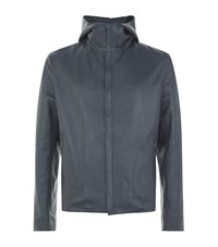 Lot 78 Full Zip Leather Hooded Jacket Male Slate