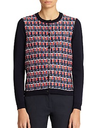 Piazza Sempione Print Front Cardigan Navy Multi