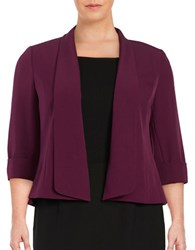 Nipon Boutique Plus Three Quarter Sleeve Open Jacket Raisin