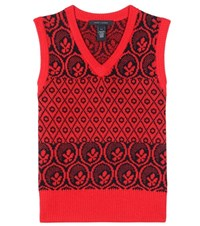 Marc Jacobs Metallic Wool Blend Knitted Vest Red