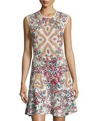 Romeo And Juliet Couture Sleeveless Floral Knit A Line Dress Beige Multi
