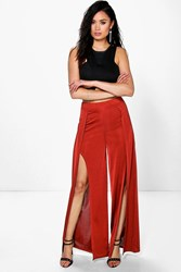 Boohoo Split Front Wide Leg Palazzo Trousers Rust