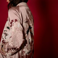 River Island Womens Ri Studio Pink Embroidered Satin Bomber