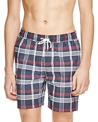 Brooks Brothers Montauk Plaid Swim Trunks Navy Red Pld