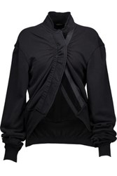 Haider Ackermann Velvet Trimmed French Cotton Terry Top Black