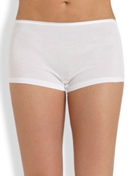 Hanro Cotton Seamless Boyshorts Skin White Black