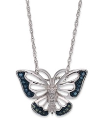 Macy's Sterling Silver Necklace Blue And Green Diamond Accent Butterfly Pendant 1 10 Ct. T.W.