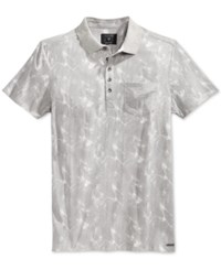 Guess Men's Stream Cloudy Graphic Print Pocket Polo Cloud Grey Multi