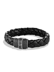 David Yurman Leather And Black Diamond Weave Bracelet