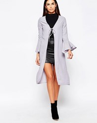 Love Bell Sleeve Tie Jacket Grey