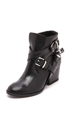 Thakoon Eva Shearling Buckle Booties Black