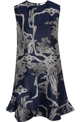 Michael Van Der Ham Fleur Metallic Jacquard Dress Blue