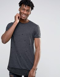 Asos Super Longline T Shirt With Distress And Stripe Hem Extender Charcoal Grey