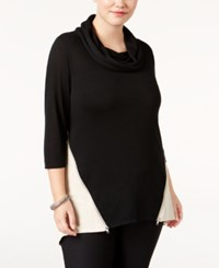 Belldini Plus Size High Low Colorblocked Top Black Heather Oatmeal Silver