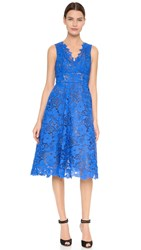 Monique Lhuillier Guipure Tea Length Dress Cobalt